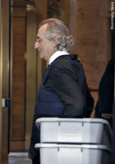 Bernie Madoff wearing a bullet proof vest